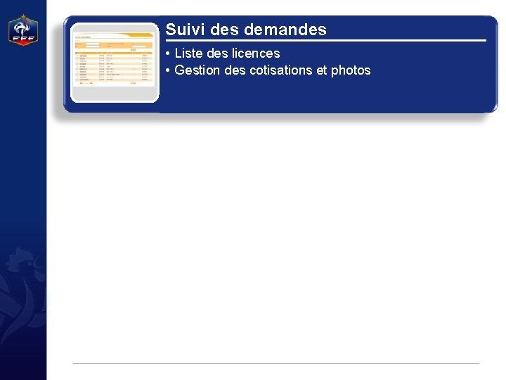 Suivi des demandes • Liste des licences • Gestion des cotisations et photos