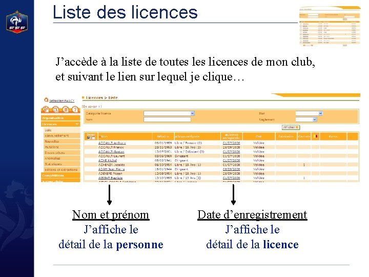 Liste des licences J'accède à la liste de toutes licences de mon club, et