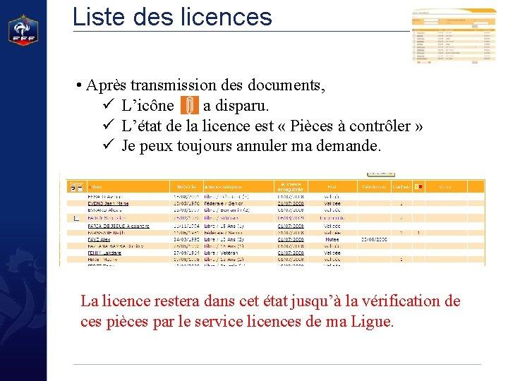 Liste des licences • Après transmission des documents, ü L'icône a disparu. ü L'état
