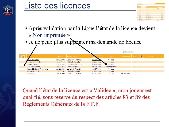 Liste des licences • Après validation par la Ligue l'état de la licence devient