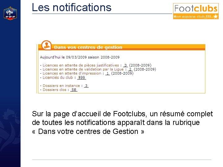 Les notifications Sur la page d'accueil de Footclubs, un résumé complet de toutes les