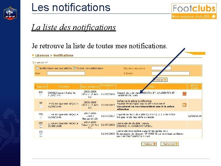 Les notifications La liste des notifications Je retrouve la liste de toutes mes notifications.