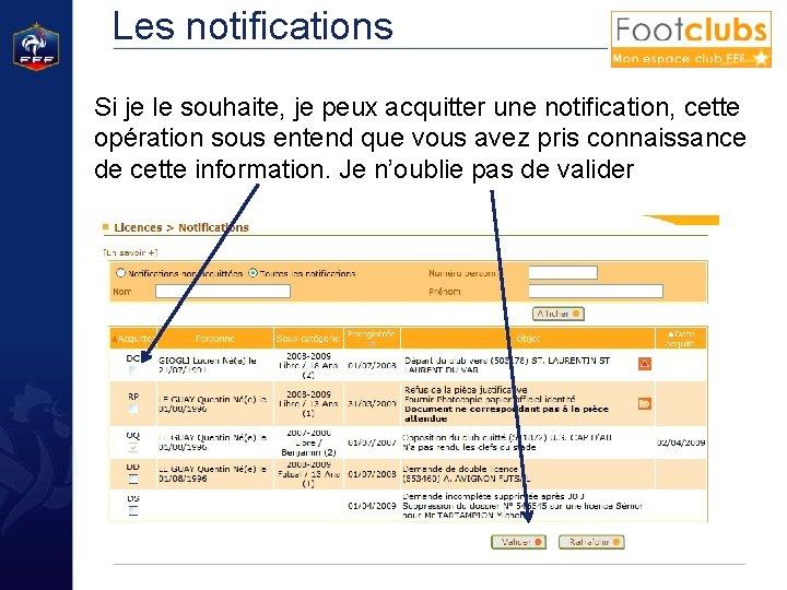 Les notifications Si je le souhaite, je peux acquitter une notification, cette opération sous