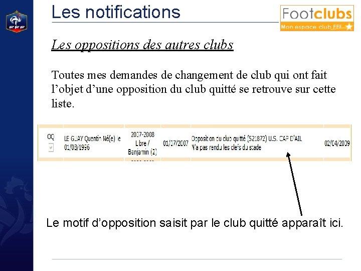 Les notifications Les oppositions des autres clubs Toutes mes demandes de changement de club