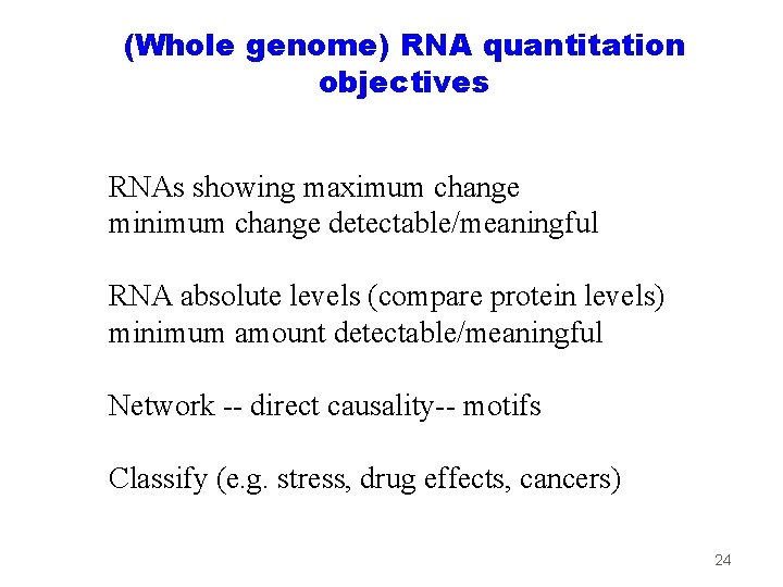 (Whole genome) RNA quantitation objectives RNAs showing maximum change minimum change detectable/meaningful RNA absolute