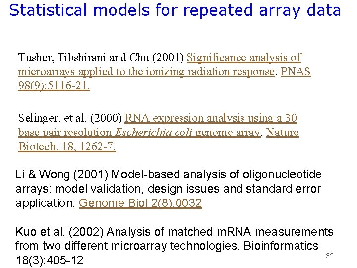 Statistical models for repeated array data Tusher, Tibshirani and Chu (2001) Significance analysis of