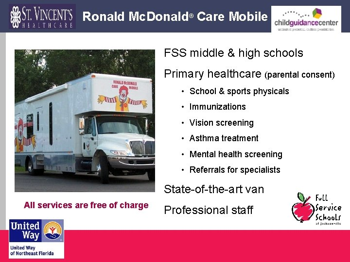 Ronald Mc. Donald® Care Mobile FSS middle & high schools Primary healthcare (parental consent)