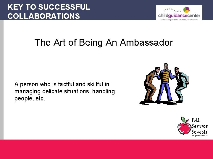 KEY TO SUCCESSFUL COLLABORATIONS The Art of Being An Ambassador A person who is