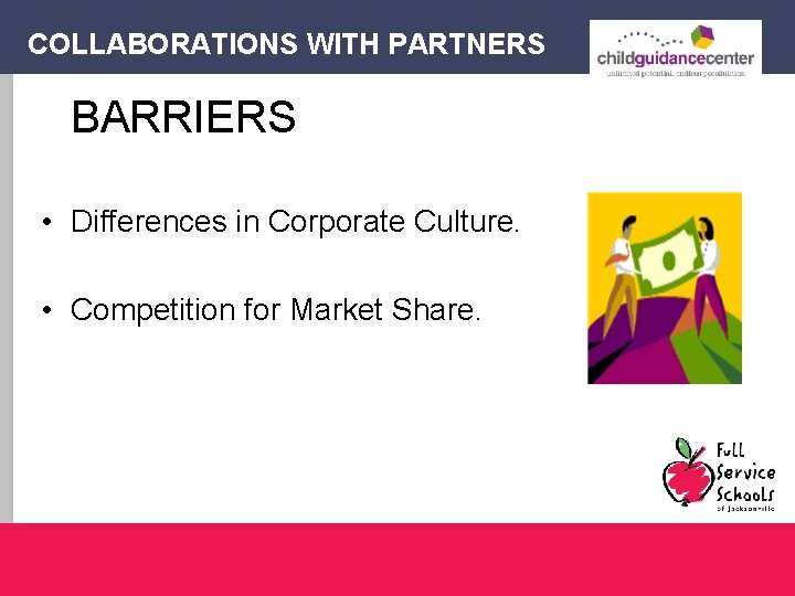COLLABORATIONS WITH PARTNERS BARRIERS • Differences in Corporate Culture. • Competition for Market Share.
