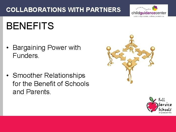 COLLABORATIONS WITH PARTNERS BENEFITS • Bargaining Power with Funders. • Smoother Relationships for the