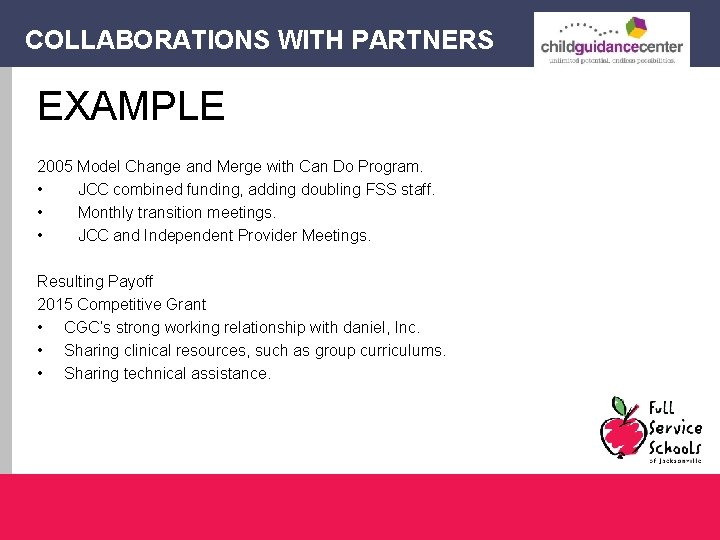 COLLABORATIONS WITH PARTNERS EXAMPLE 2005 Model Change and Merge with Can Do Program. •