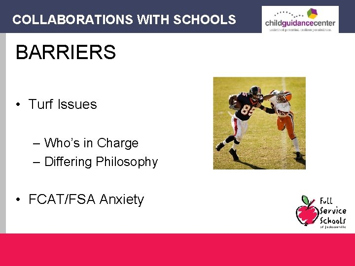 COLLABORATIONS WITH SCHOOLS BARRIERS • Turf Issues – Who's in Charge – Differing Philosophy