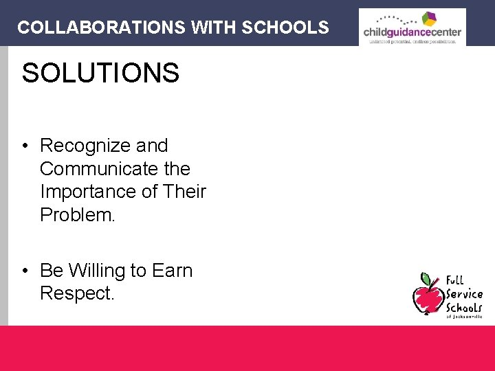 COLLABORATIONS WITH SCHOOLS SOLUTIONS • Recognize and Communicate the Importance of Their Problem. •