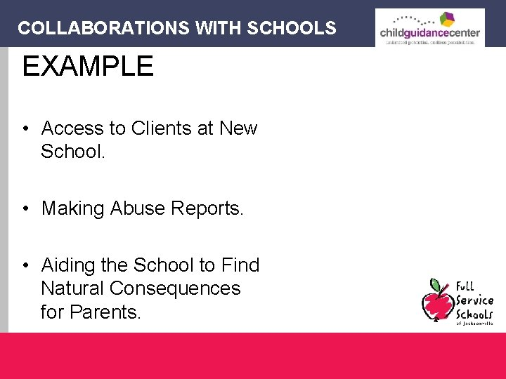 COLLABORATIONS WITH SCHOOLS EXAMPLE • Access to Clients at New School. • Making Abuse