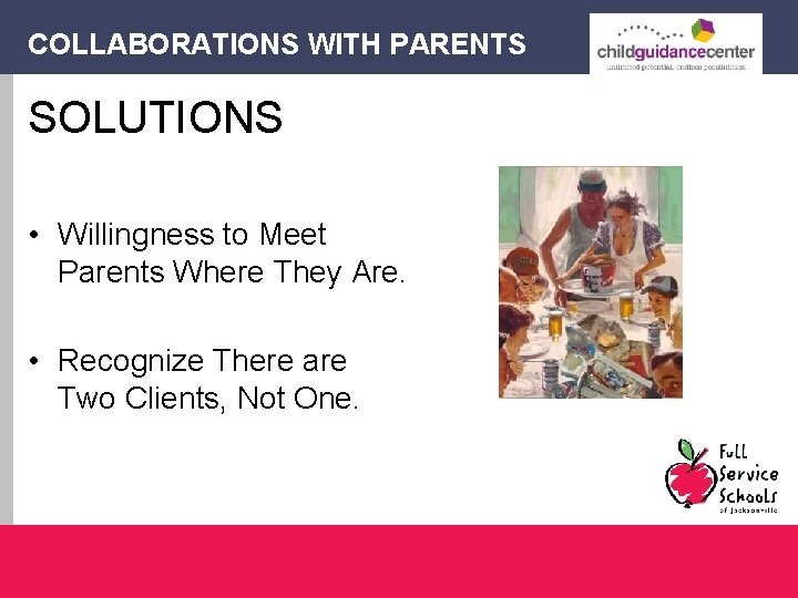 COLLABORATIONS WITH PARENTS SOLUTIONS • Willingness to Meet Parents Where They Are. • Recognize