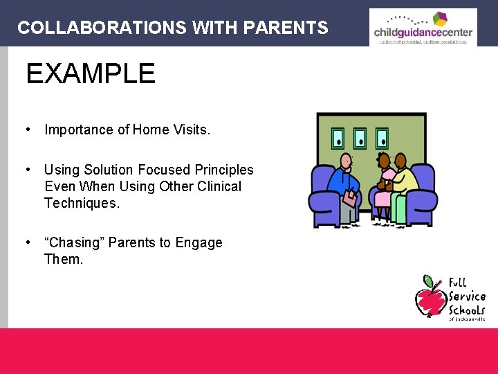 COLLABORATIONS WITH PARENTS EXAMPLE • Importance of Home Visits. • Using Solution Focused Principles