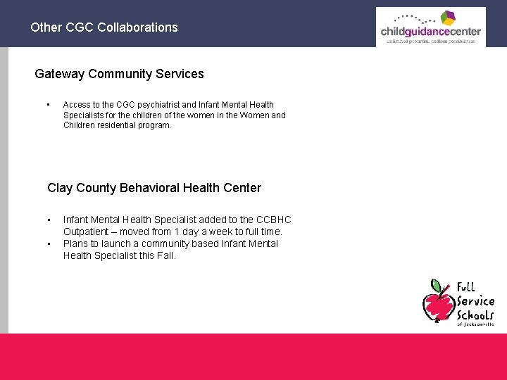 Other CGC Collaborations Gateway Community Services • Access to the CGC psychiatrist and Infant
