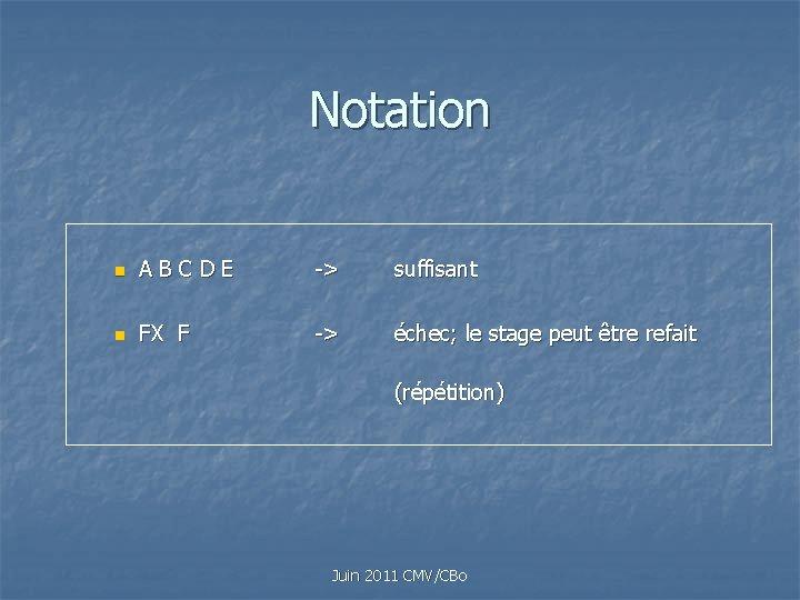 Notation n A B C D E -> suffisant n FX F -> échec;
