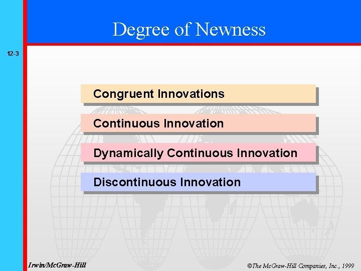 Degree of Newness 12 -3 Congruent Innovations Continuous Innovation Dynamically Continuous Innovation Discontinuous Innovation
