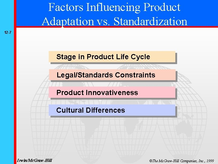 Factors Influencing Product Adaptation vs. Standardization 12 -7 Stage in Product Life Cycle Legal/Standards