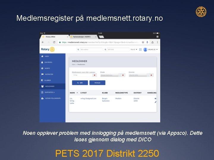 Medlemsregister på medlemsnett. rotary. no Noen opplever problem med innlogging på medlemsnett (via Appsco).