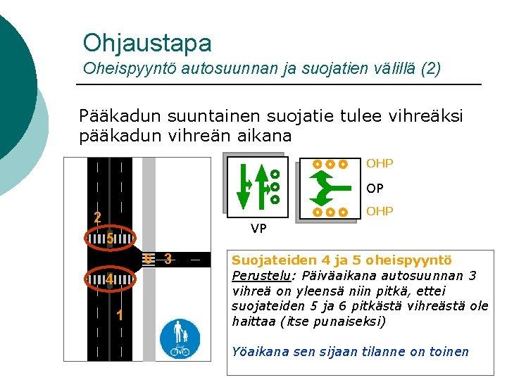 Ohjaustapa Oheispyyntö autosuunnan ja suojatien välillä (2) Pääkadun suuntainen suojatie tulee vihreäksi pääkadun vihreän
