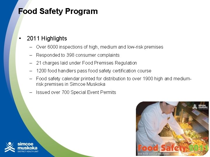 Food Safety Program • 2011 Highlights – Over 6000 inspections of high, medium and