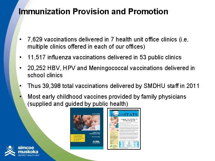 Immunization Provision and Promotion • 7, 629 vaccinations delivered in 7 health unit office