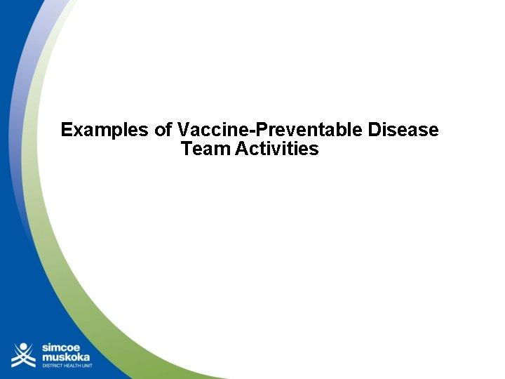 Examples of Vaccine-Preventable Disease Team Activities