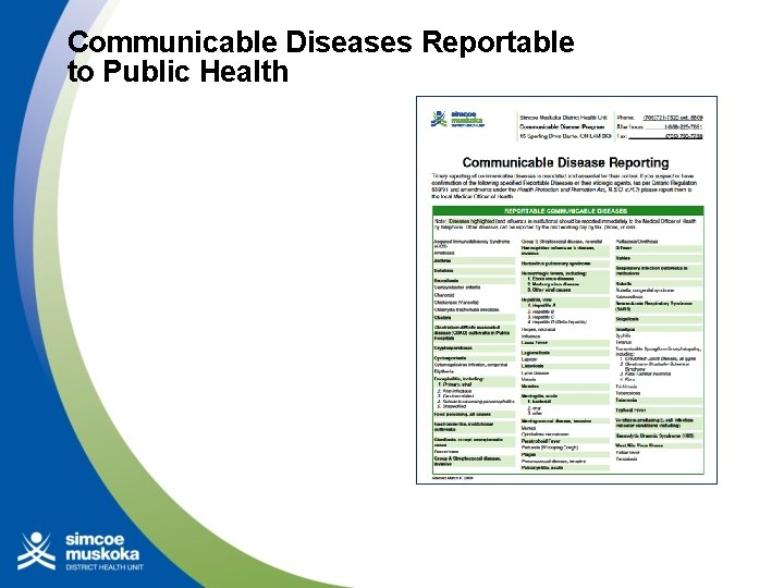 Communicable Diseases Reportable to Public Health