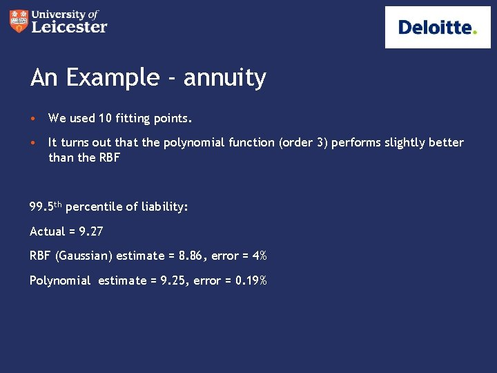 An Example - annuity • We used 10 fitting points. • It turns out