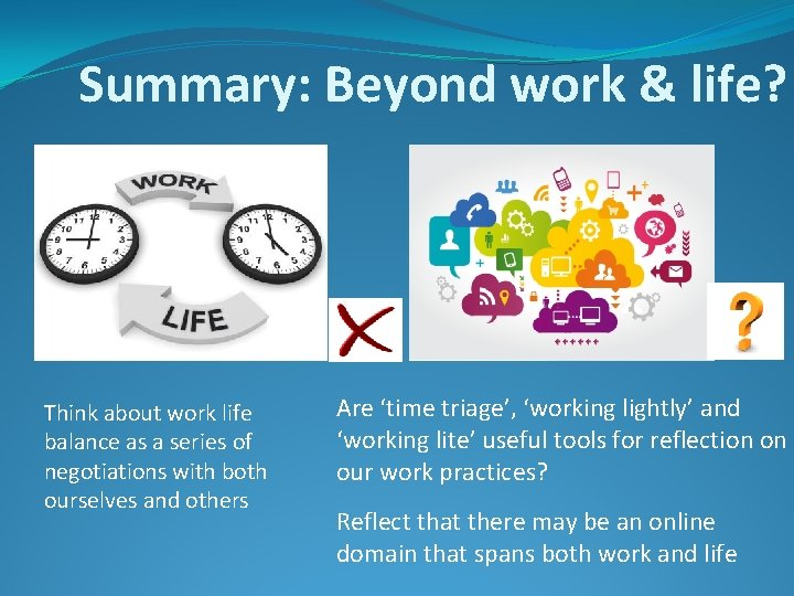 Summary: Beyond work & life? Think about work life balance as a series of