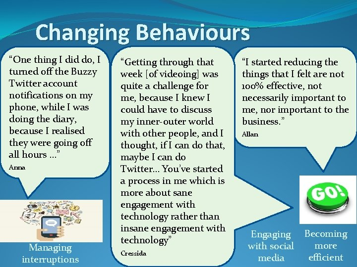 """Changing Behaviours """"One thing I did do, I turned off the Buzzy Twitter account"""