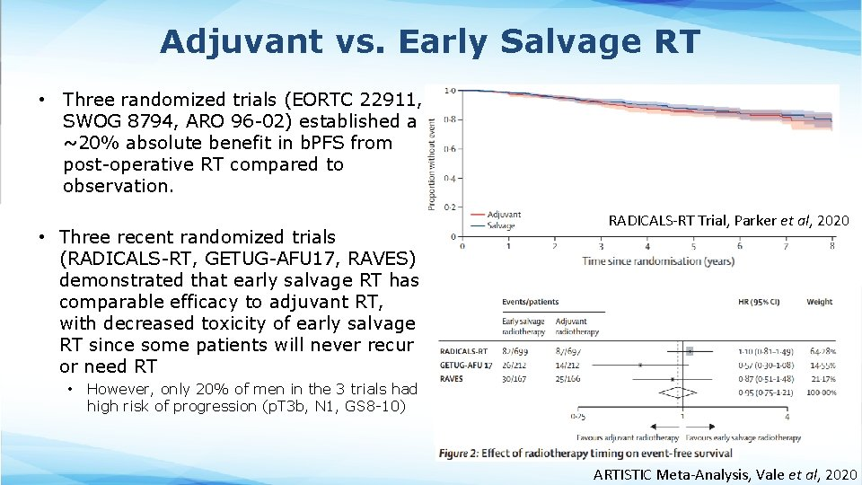 Adjuvant vs. Early Salvage RT • Three randomized trials (EORTC 22911, SWOG 8794, ARO