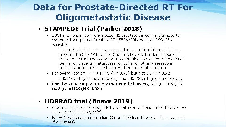Data for Prostate-Directed RT For Oligometastatic Disease • STAMPEDE Trial (Parker 2018) § 2061