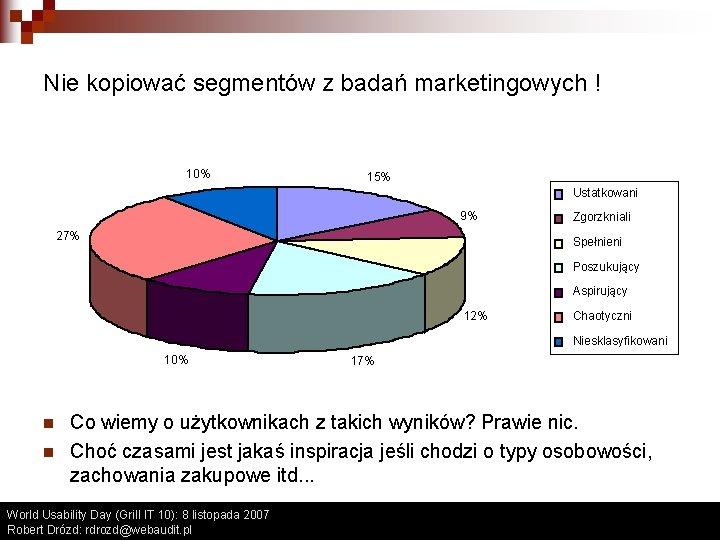 Nie kopiować segmentów z badań marketingowych ! 10% 15% Ustatkowani 9% 27% Zgorzkniali Spełnieni