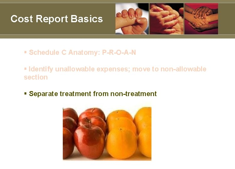 Cost Report Basics § Schedule C Anatomy: P-R-O-A-N § Identify unallowable expenses; move to