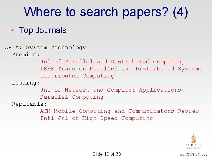 Where to search papers? (4) • Top Journals AREA: System Technology Premium: Jnl of