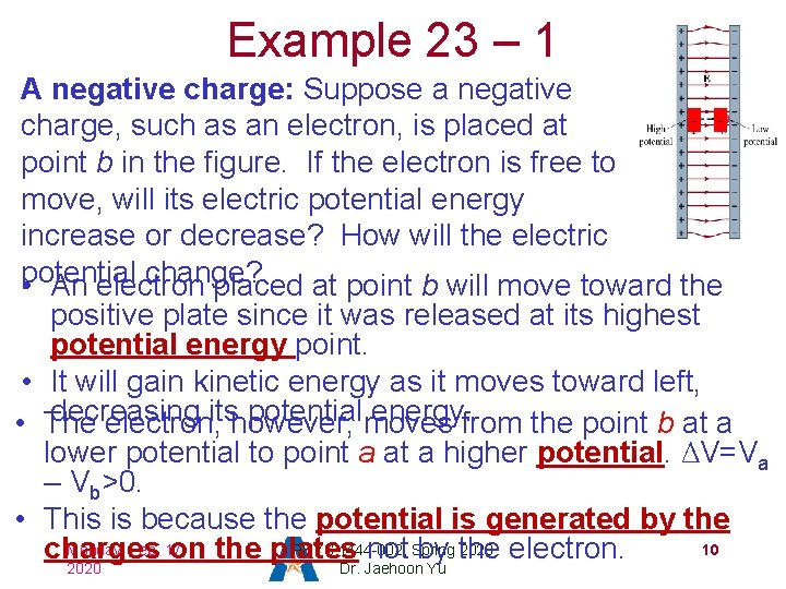 Example 23 – 1 A negative charge: Suppose a negative charge, such as an