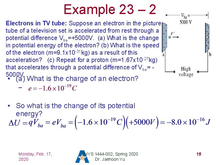 Example 23 – 2 Electrons in TV tube: Suppose an electron in the picture