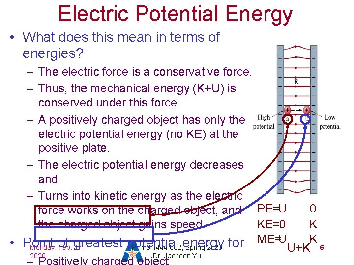 Electric Potential Energy • What does this mean in terms of energies? – The
