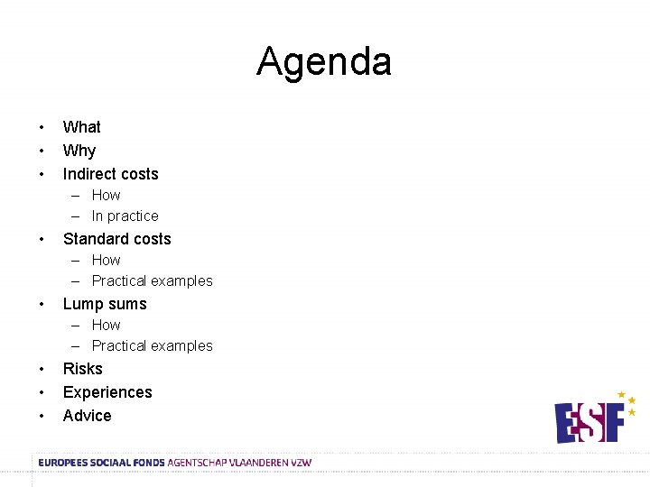 Agenda • • • What Why Indirect costs – How – In practice •