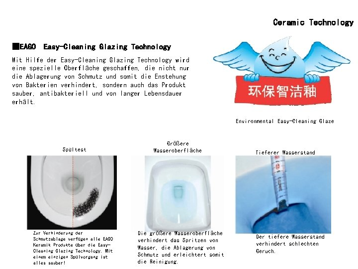 Ceramic Technology ■EAGO Easy-Cleaning Glazing Technology Mit Hilfe der Easy-Cleaning Glazing Technology wird eine
