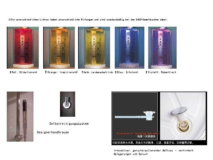 ↓Die unterschiedlichen Lichter haben unterschiedliche Wirkungen und sind standardmäßig bei den EAGO-Dampfduschen dabei. ↑Rot:
