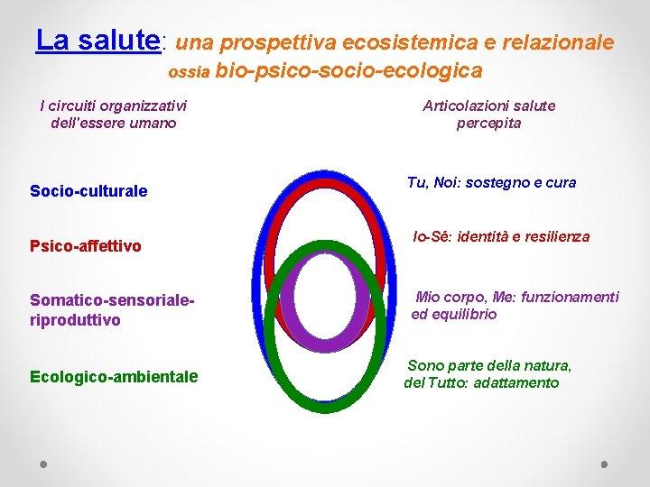 La salute: una prospettiva ecosistemica e relazionale ossia I circuiti organizzativi dell'essere umano Socio-culturale