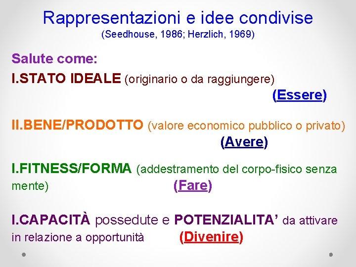 Rappresentazioni e idee condivise (Seedhouse, 1986; Herzlich, 1969) Salute come: I. STATO IDEALE (originario