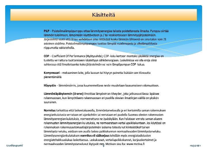 Käsitteitä Uusikaupunki 9 10. 3. 2021