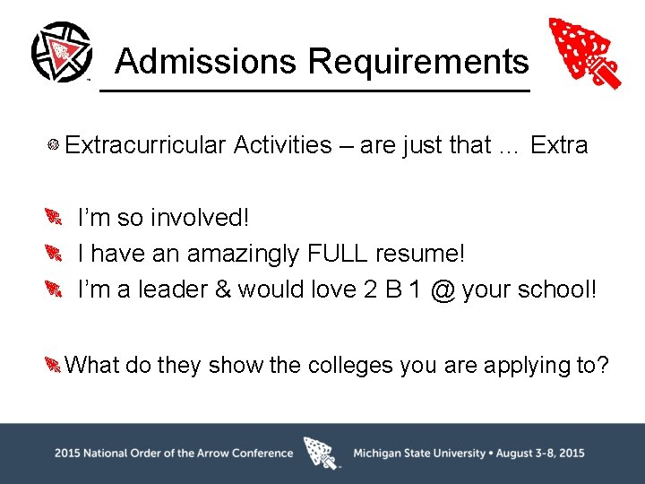 Admissions Requirements Extracurricular Activities – are just that … Extra I'm so involved! I