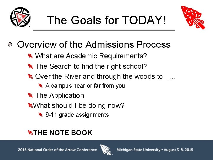 The Goals for TODAY! Overview of the Admissions Process What are Academic Requirements? The