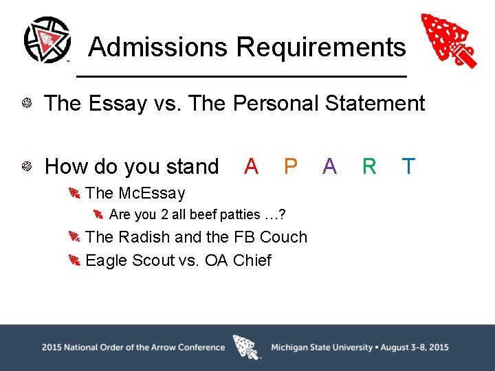 Admissions Requirements The Essay vs. The Personal Statement How do you stand A P